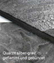 Quarzit silber-grau, geflammt und gebürstet